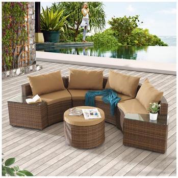 Elegant Half Round Sofa Set Synthetic Rattan Outdoor Semi Circle