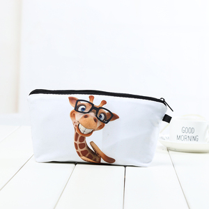 Customizable pure white bottom giraffe printing polyester storage contents cosmetic bag