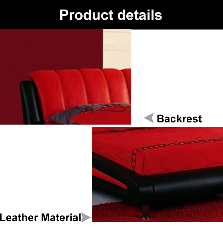 Super king size custom color living room furniture rosso nero moderno letto in pelle