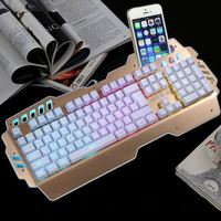 eSuky High Quality USB Wired Office Led Iluminated Mobile Holder Stand Keyboard Backlight wireless gaming keyboard and mouse