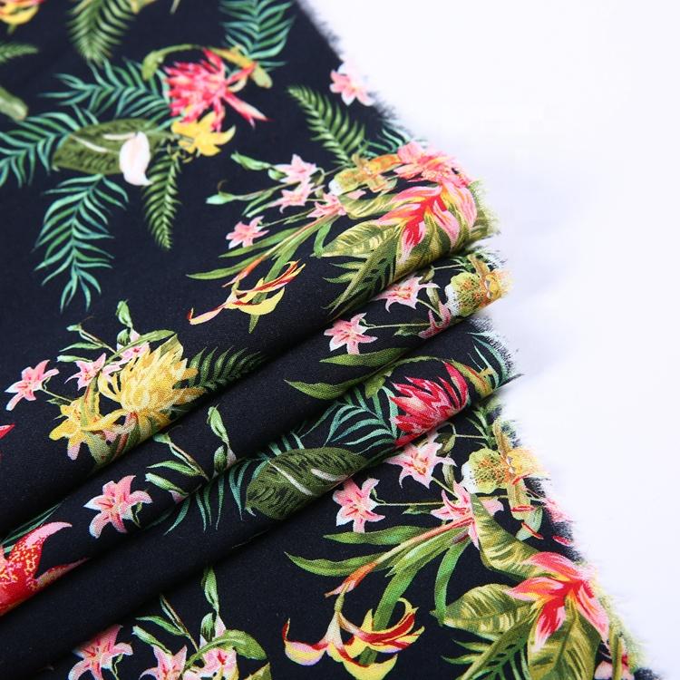 ドレス織デジタル印刷熱帯花ハワイアンプリントレーヨンバリ印刷ビスコース生地