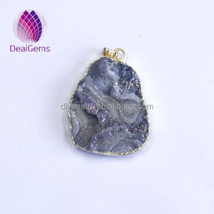 Natural stone druzy slice pendant with gold plated edge sun galaxy pendant colorful agate slices wholesale