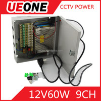 High quality 12V5A CCTV power box 9channel output 60W 12V switching power supply