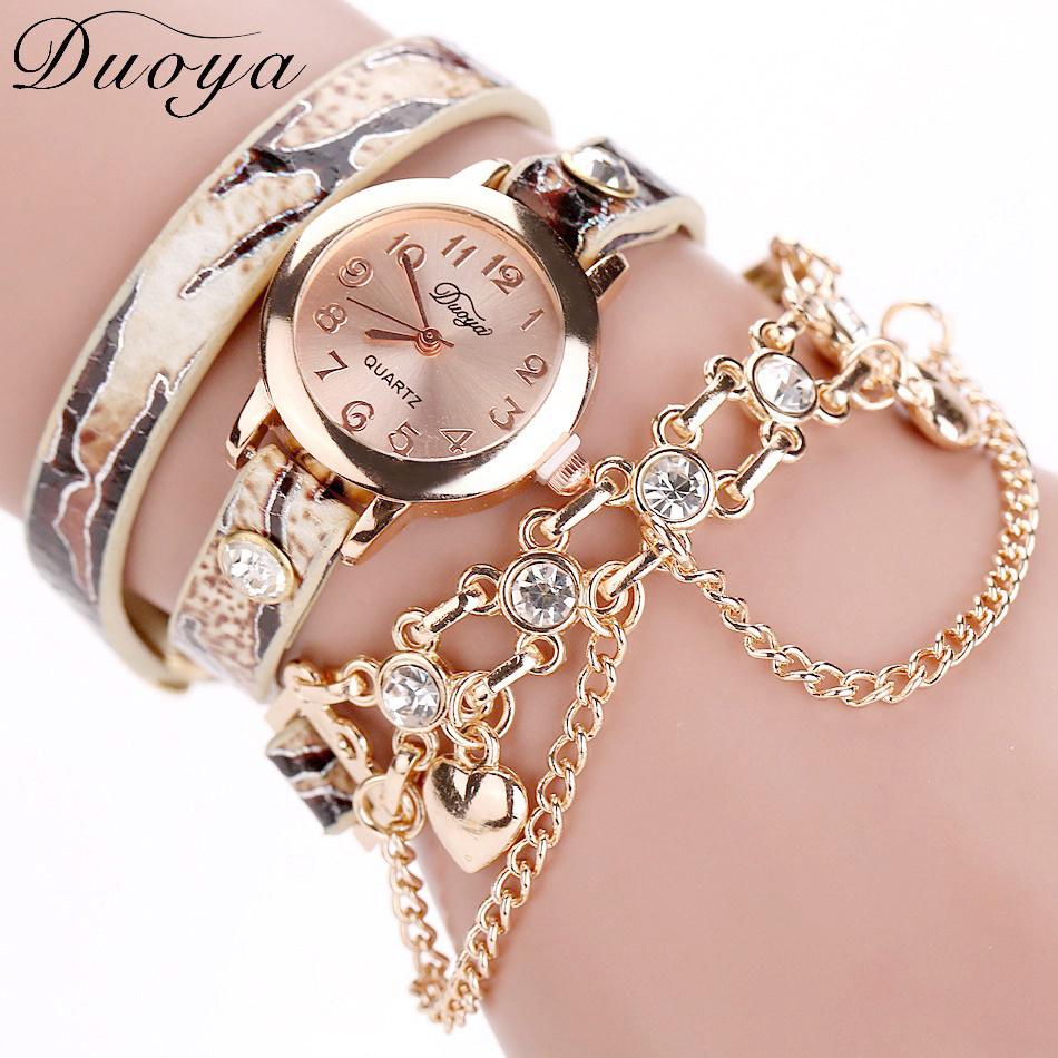 Duoya Brand Luxury Rhinestone Snake Classic Bracelet Quartz Watch Women Dress Watches Fashion Bracelet Watches Ladies Women фото