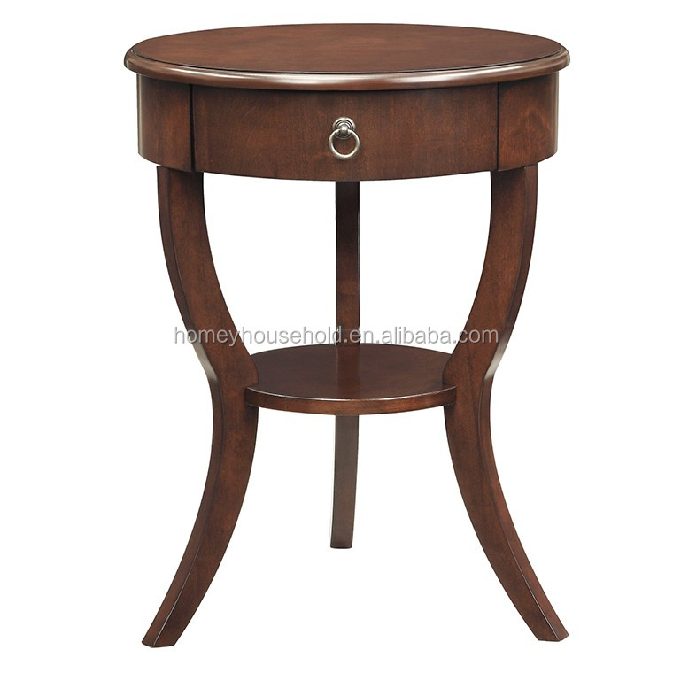 New Handmade Solid Wood Indoor Style Rustic Coffee Table Side Round Coffee Table With Drawer