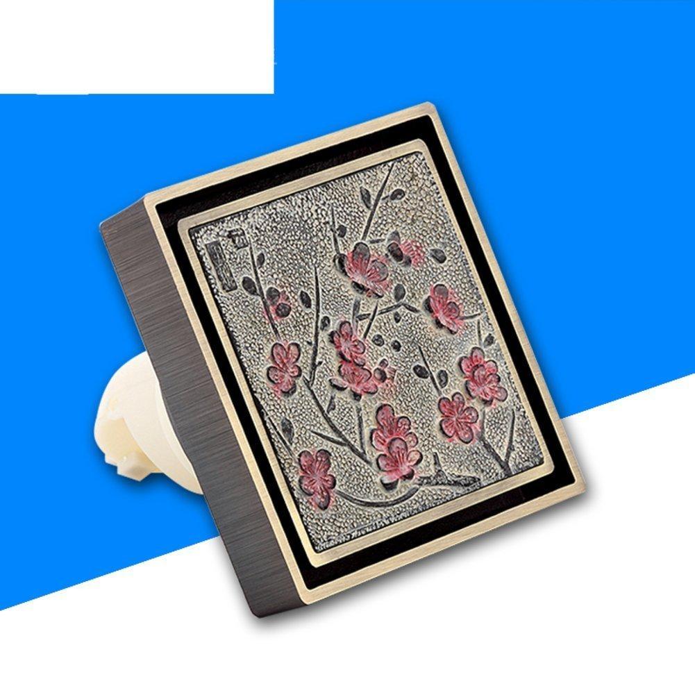 YAOHAOHAO Deodorant floor drain/square ancient floor drain engraving/retro carved artistic floor drain