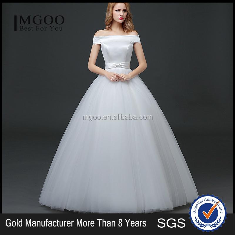 Mgoo Customised Ball Gown White Plain Satin Bridal Dress Sleeveless ...