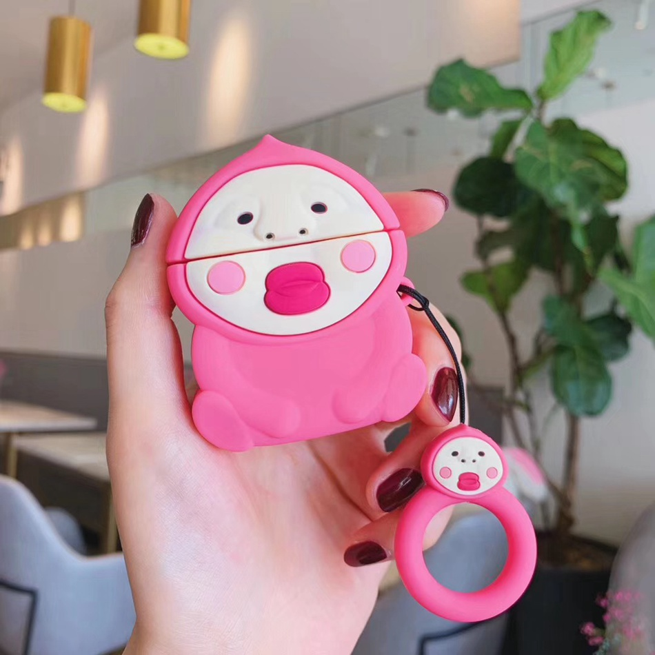 3D Cute Earphone Case for Airpods 2 Case Anime Baby Silicone Duck Headphone Protector Cover for Apple Airpods 1 For Earpods Case