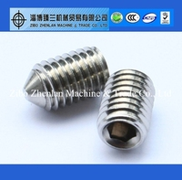 Stainless steel socket set screws cone point with din913