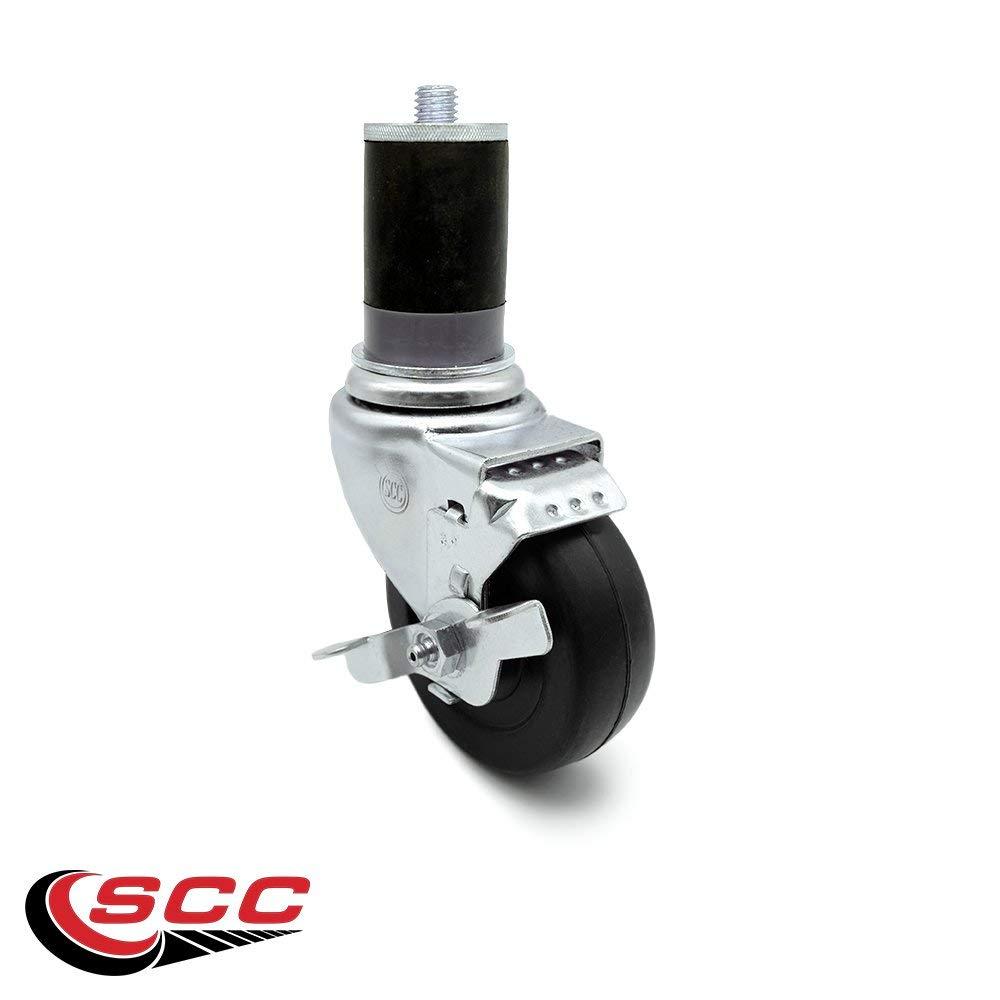 "Service Caster - Stainless Steel 3.5"" x 1.25"" Hard Rubber Wheel Swivel Caster w/1-5/8"" Expanding Stem w/Brake - 285 lb/Caster"
