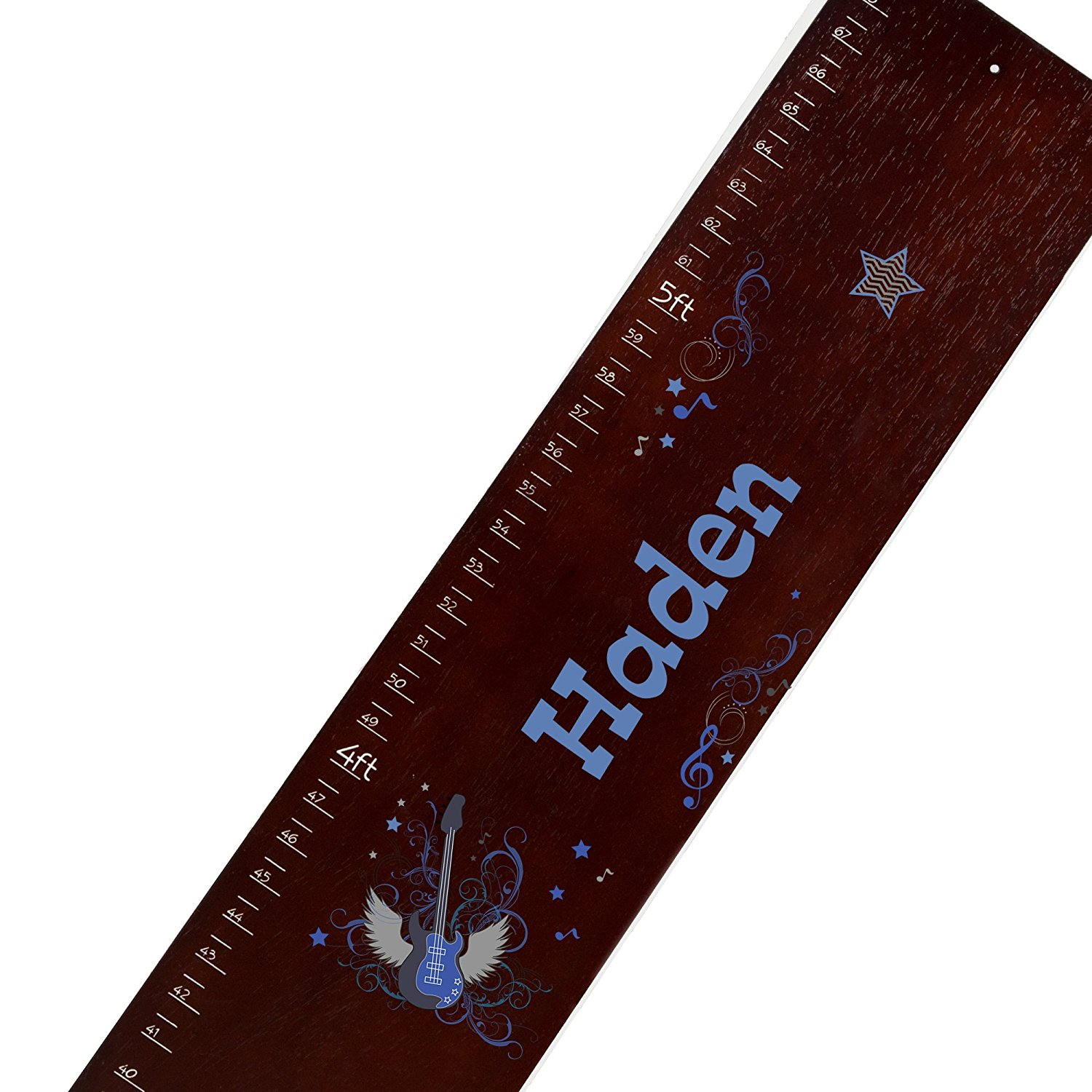 Personalized espresso Rock Star Blue childrens wooden growth chart