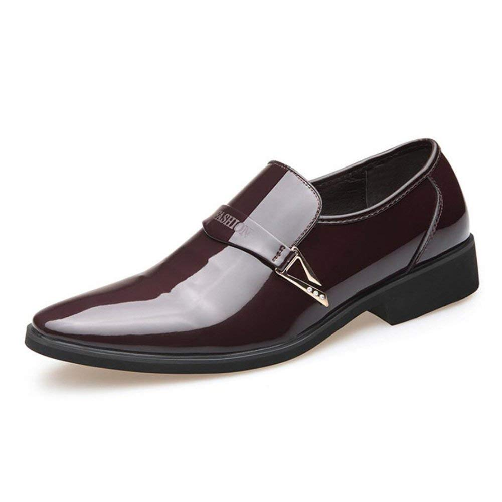 Mens Fashion Business Shoes,Lace Up Formal Shoes, Pointed Toe Shiny Flat Leather Dress Shoes,Wedding Casual Party,Brown,43