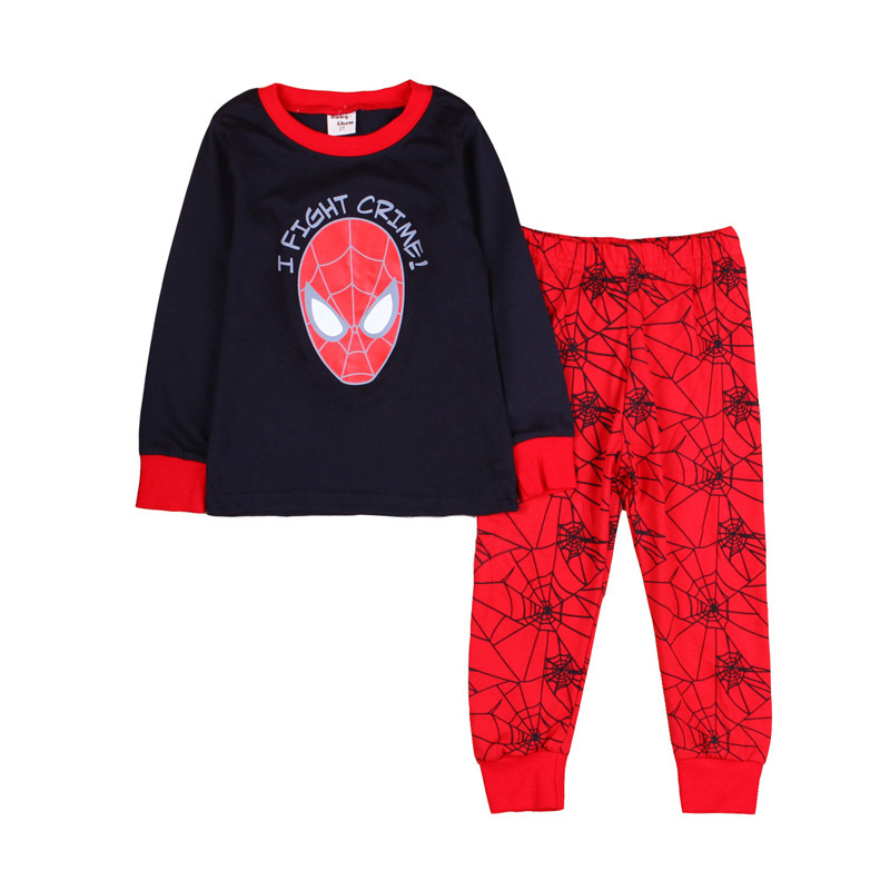 2015 100% cotton spiderman cartoon pajamas for boys, pyjamas for girls, children's clothing set toddler baby kids pijamas set