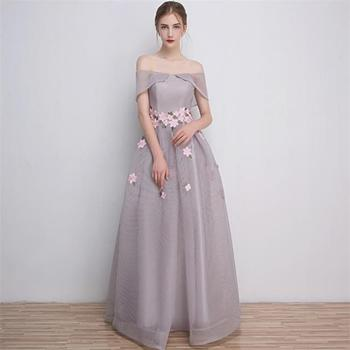 17 Years History Factory Off Shoulder Long Evening Dress Gray Lady