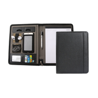 Hot sale pu leather file folder portfolio for a4 office business zipper closure conference portfolio with phone and card holder