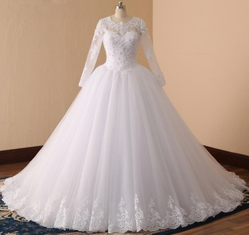 Long Sleeve Ball Gowns Beaded Lace Wedding Dresses 2018 Real Image