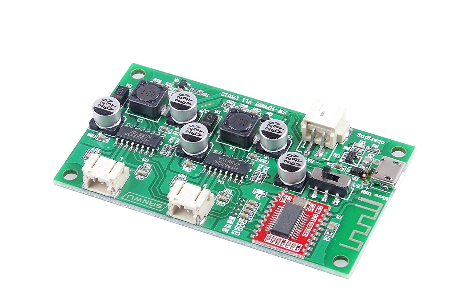 KNACRO 2-Channel Bluetooth Amplifier Board 6W +6W Bluetooth Speaker Modified Board DC5V Power Supply Can Be Connected To 3.7V Lithium Battery-powered, With charge management circuit