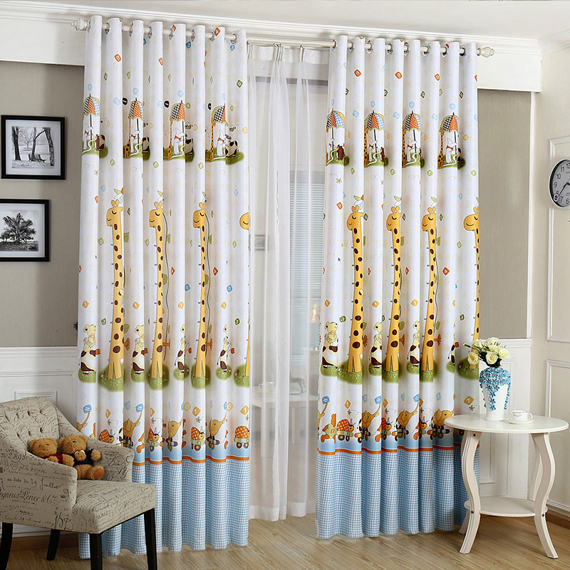 Buy hot cartoon giraffe pattern finished - Childrens bedroom blackout curtains ...