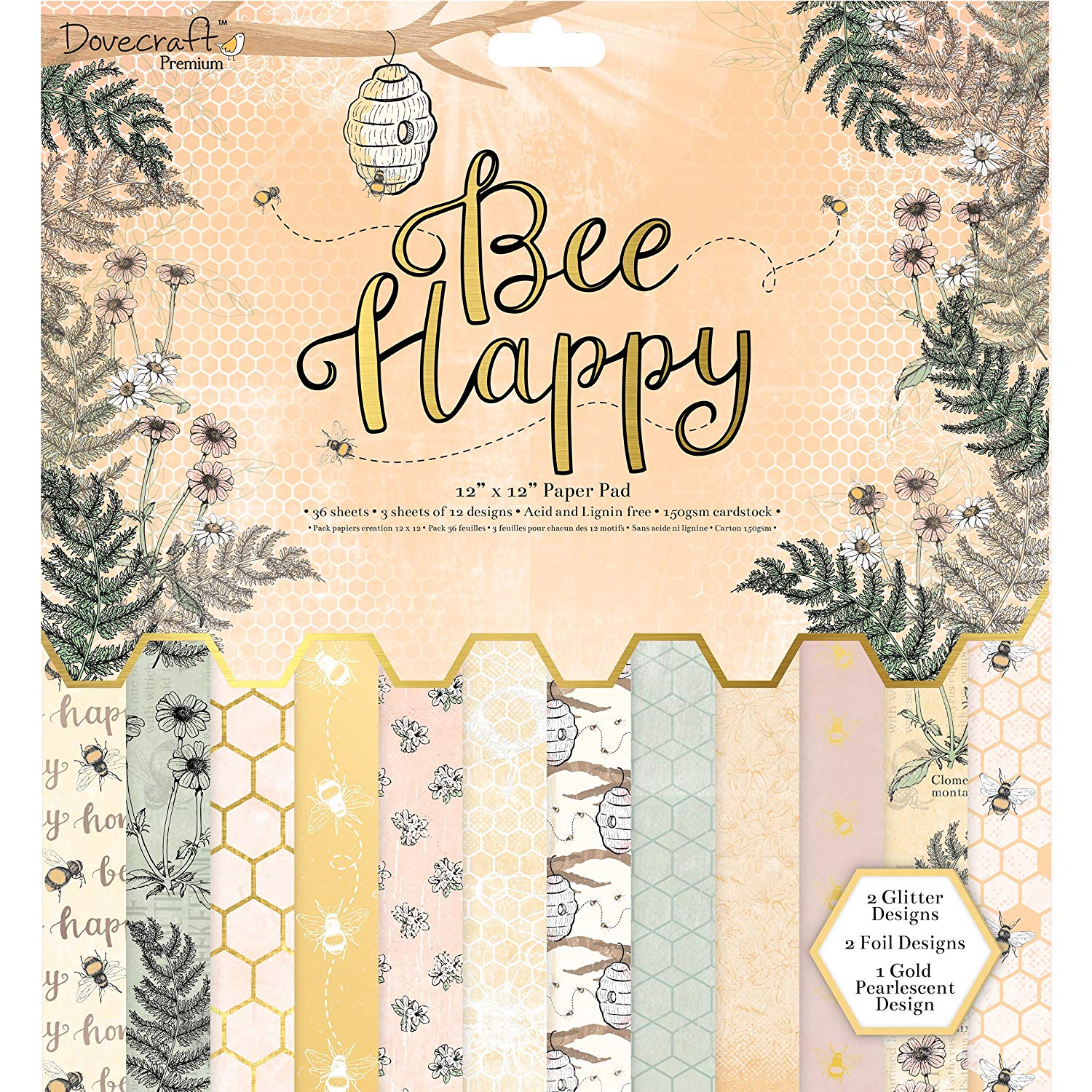 "Dovecraft Premium Bee Happy Paper Craft Collection - 12x12"" Paper Pad"