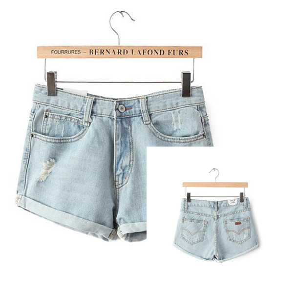 2015 summer style denim shorts jeans for women beash sexy hole high waist shorts washed short jeans for women plus size s-xl