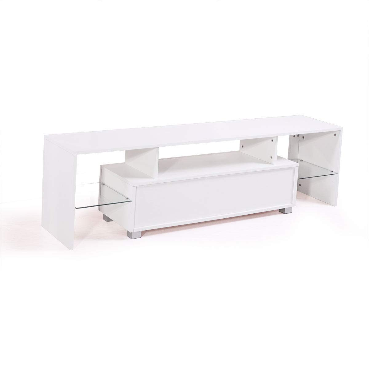 "Lapha'' 63"" Inch White TV Stand Cabinet Console Furniture Led Unit Shelves Media Gloss Storage with LED Light Shelve Drawer Console High Gloss"