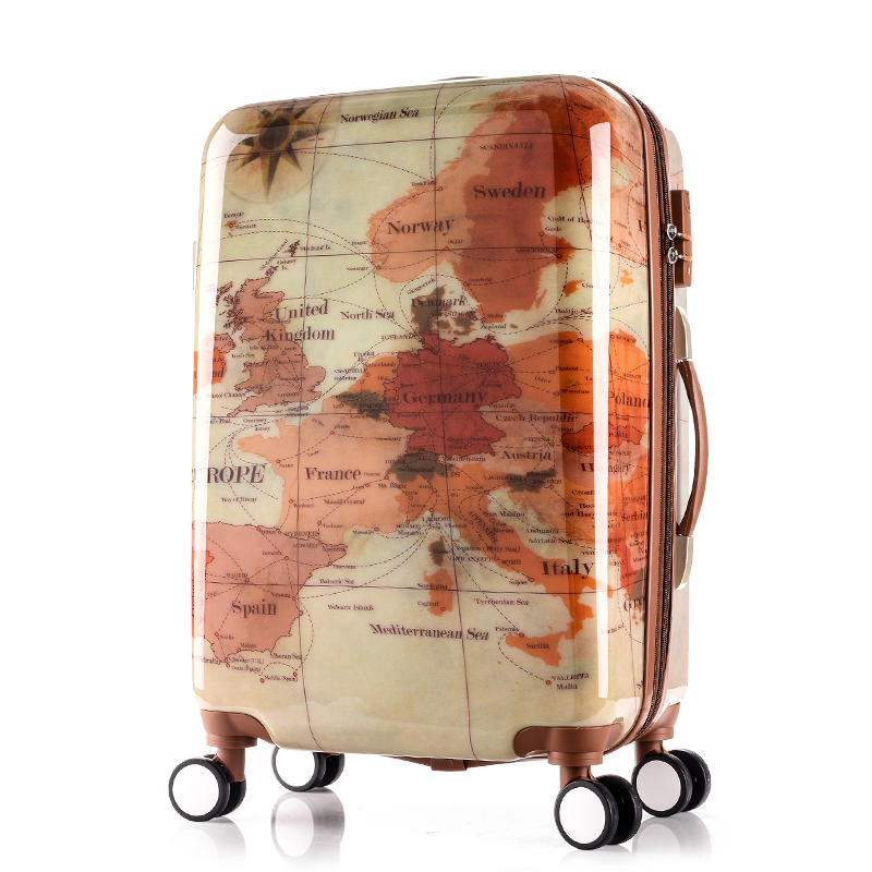 Cheap map luggage find map luggage deals on line at alibaba get quotations paul vintage box 20 24 28trolley luggage travel bag luggage universal wheels luggagehigh quality gumiabroncs Image collections