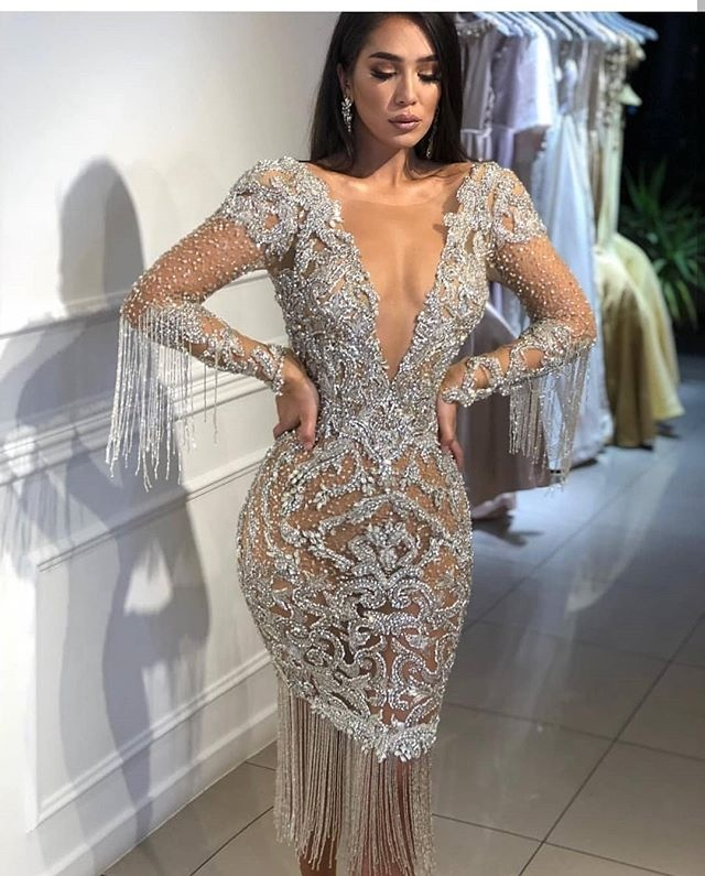Women Short Evening Party Dresses Long Sleeve Tassel Heavy Silver Beads Prom Gowns Luxury Ladies Sexy Cocktail Dress