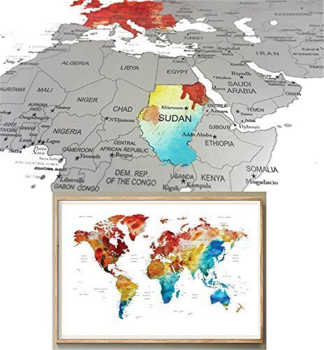 World Map Scratch Off Wall Art PosterWatercolor World Map Travel - Watercolor scratch off map