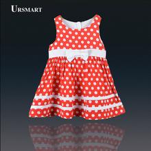 Meninas do bebê Dot Vestido Nova Marca de 100% de Algodão Vestidos de Meninas Vermelhas Parte Superior Do Tanque de verão de 2016 Crianças Menina Vestido Roupa das Crianças 1-4 Anos