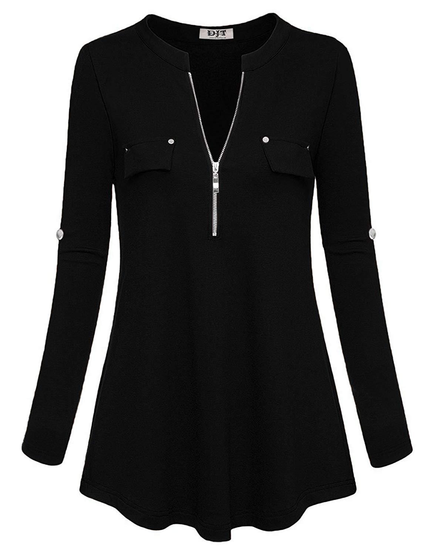 DJT Women's V Neck Roll up Long Sleeve Flowy Pocket Decor Zipper Knit Tunic Top