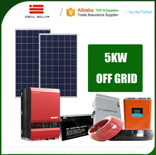 on off grid tied soalr panel power system 3kw 4kw 5kw 10kw with mounting tracking racking inverter battery collector collecter