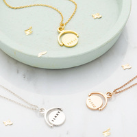 2019 New Design Stainless Steel Jewelry Silver Gold Blank or Engraved Disc Circle Personalised Mini Spinning Necklace