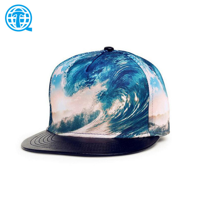 0e82af4d71a Flat leather brim digital printing sublimation printed hats and cap