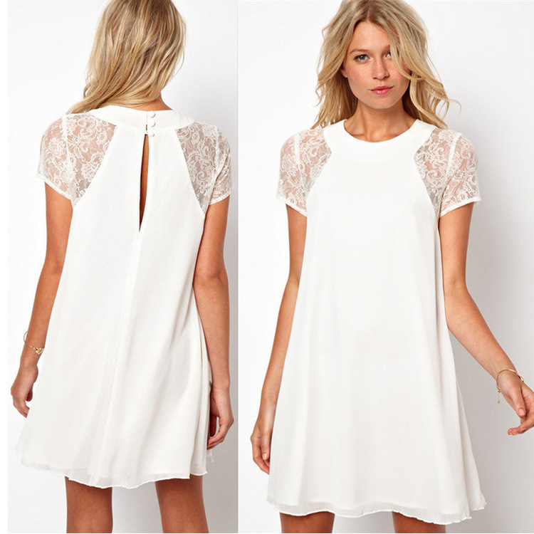 Buy Maternity Dress Clothes Lace Stitching Short Sleeved Chiffon