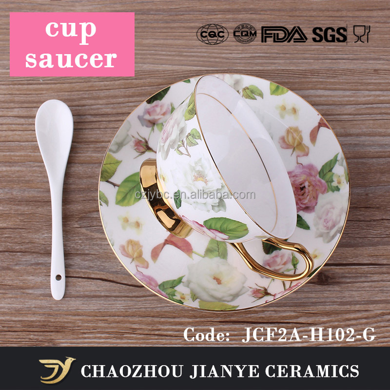 wholesale logo customize Gold Rim Painted Fine Bone China coffee tea Cup And Saucer porcelain vintage tea coffee cup and set