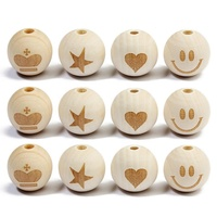 Smile Star Crown Heart Shape Women DIY Necklace Jewelry Round Wooden Letter Bracelet Loose Spacers Beads Charm