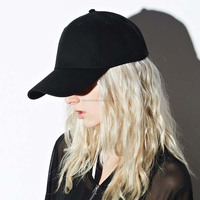 Cotton 6 Panel Hat Black/White Blank Baseball Cap