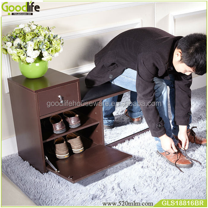 Japanese Shoes Changing Style Wooden Shoe Rack Mirror