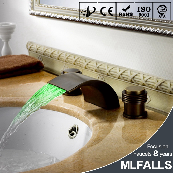 Waterfall Bathroom Basin Faucets 3Colors Change Led Tap Water Power Basin led Mixer Led Faucet MLFALLS