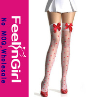 Fashion White Stocking With Red Dot And Bow Ladies Stocking
