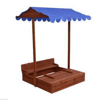 Outdoor Wooden Sandbox with Canopy and Cover