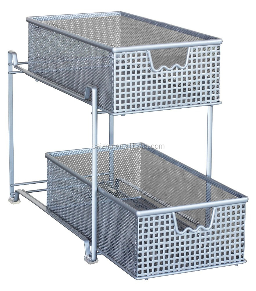 Mesh Sliding Cabinet Basket Organizer Drawer metal storage shelf