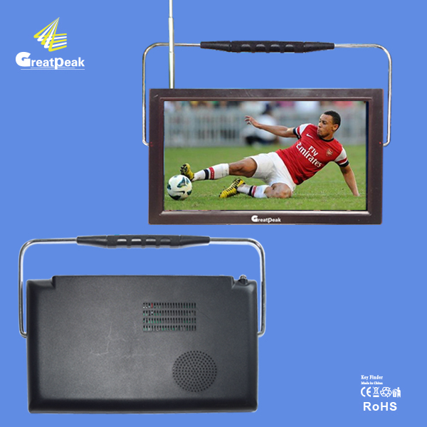 outside using Portable rechargeable 9 inch DVB-T2 TV with Rotating antenna