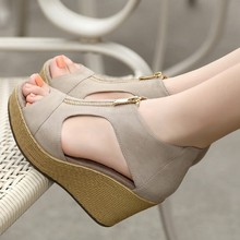 2015 new female sandals women wedges platform shoes summer vintage heeled Peep Toe sandal High heels Fish head shoe zipper Oc32