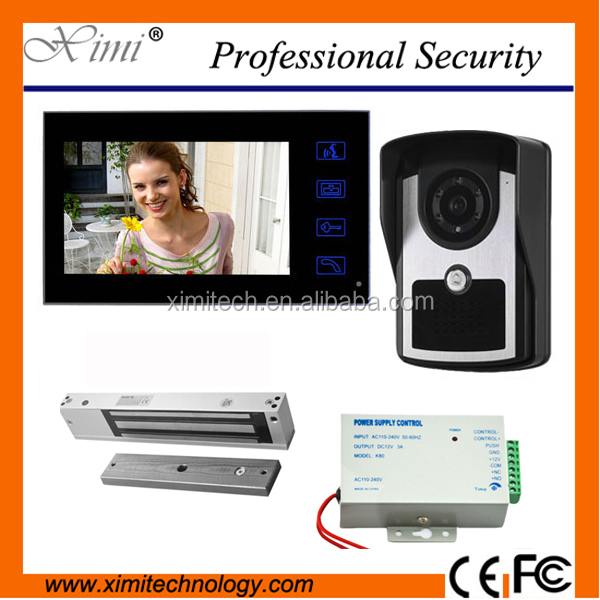 7 Inch Lcd Monitor Wire Outdoor Camera + Sccecc Control Power Supply+ 180Kg Em Lock + Remote Audio Video Door Phone Intercom