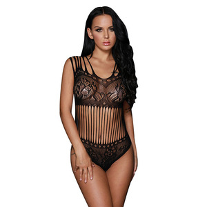 Wholesale Lady Transparent Thin Sexy Lingerie Hot Girls Erotic Sheer Black Seamless Floral Lace Teddy Lingerie