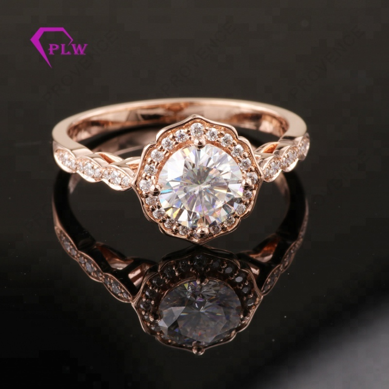 14k rose gold halo style 1 carat brilliant VVS moissanite diamond wedding <strong>ring</strong>