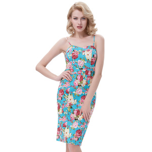Belle Poque Spaghetti Straps Hips-Wrapped Body con Pencil Dress Floral Pattern Retro Vintage Dress BP000174-1
