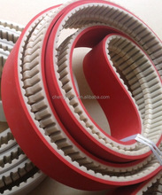 endless PU timing belt with string with red rubber coated with steel cord