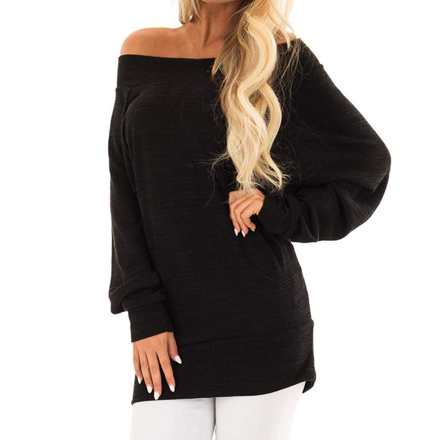 Snowfoller Women Off Shoulder Long Pullover Shirt Casual Long Sleeve Loose Tunics Tops Autumn Blouse